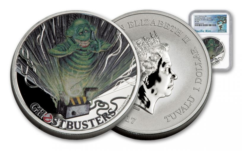 2017 Tuvalu 1 Dollar 1-oz Silver Ghostbusters Slimer MS70