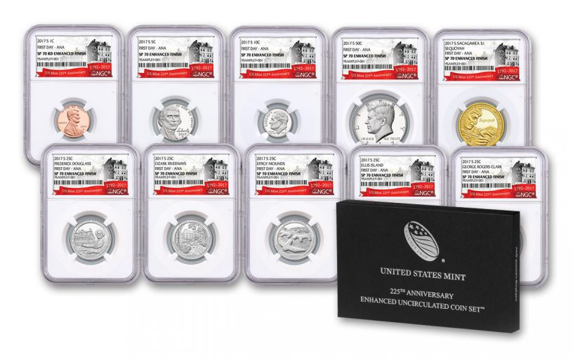 2017 U.S. Mint 225th Anniversary Enhanced Uncirculated Coin Set NGC SP70 FDI ANA