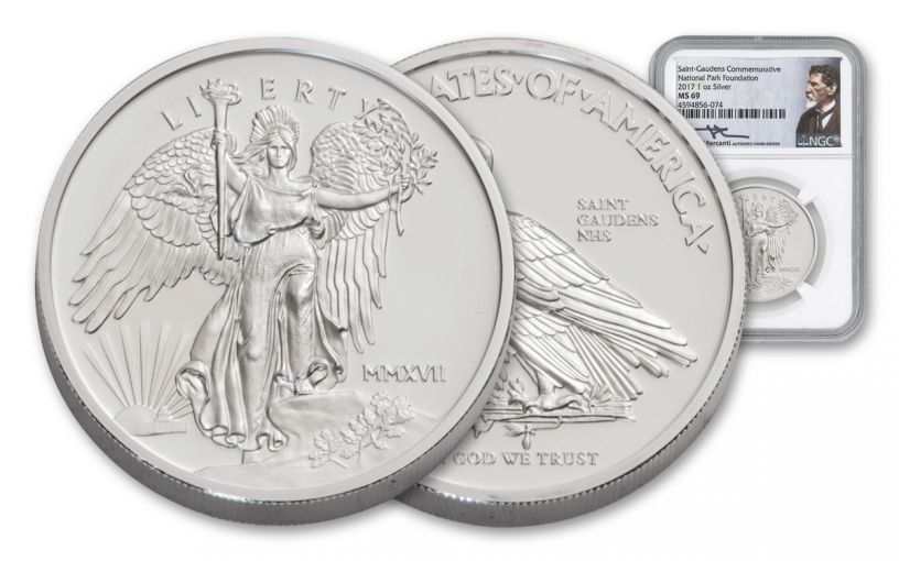 2017 Saint Gaudens' 1-oz Silver Winged Liberty NGC MS69- Mercanti Signed