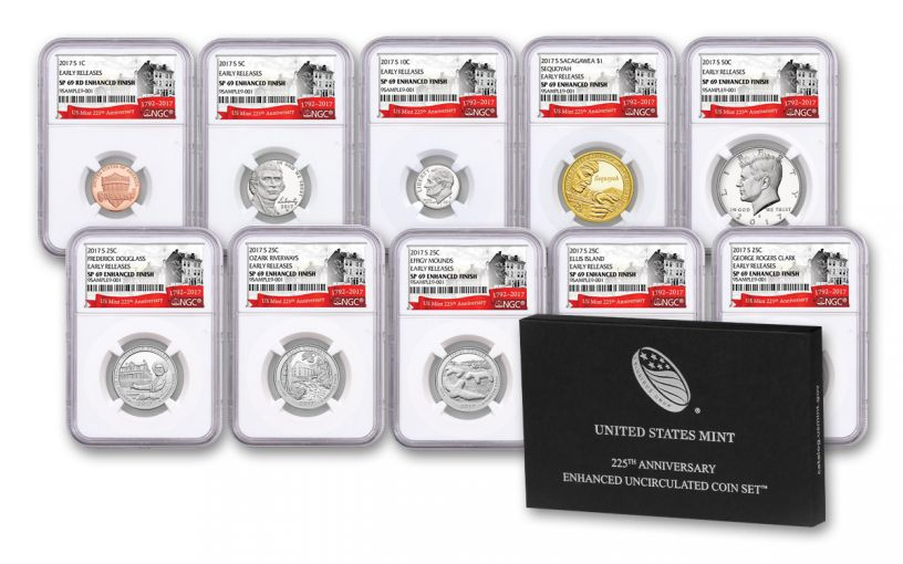 2017 U.S. Mint 225th Anniversary Enhanced Unciculated Coin Set NGC SP69 Early Release