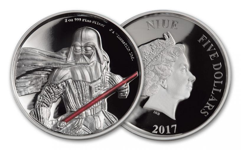 2017 Niue 5 Dollar 2-oz Silver Darth Vader Ultra High Relief Proof
