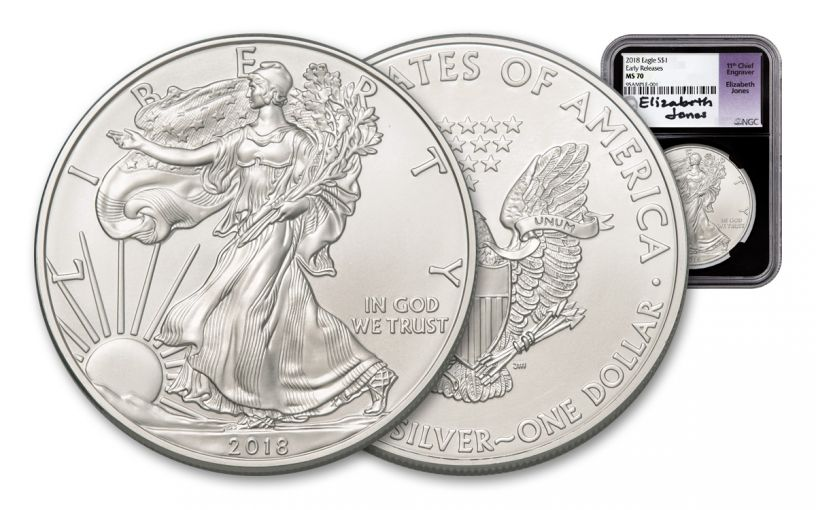 2018 1 Dollar 1-oz Silver Eagle NGC MS70 Early Releases Jones Signed - Black