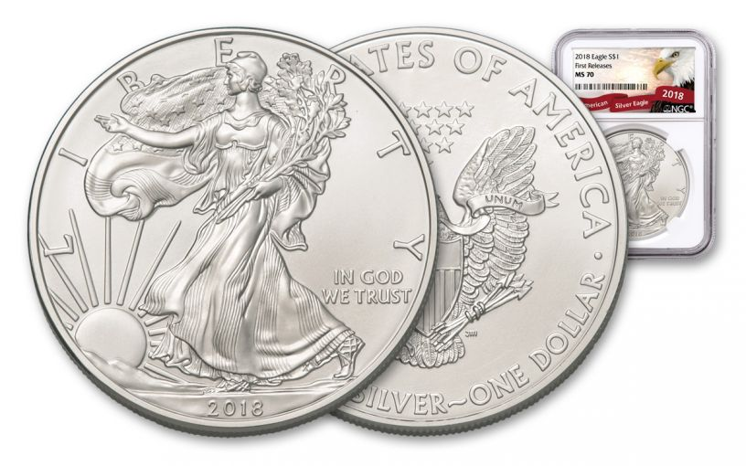 2018 1 Dollar 1-oz Silver Eagle NGC MS70 First Releases Eagle Label
