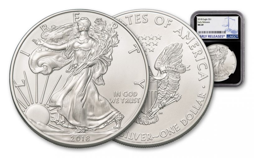 2018 1 Dollar 1-oz Silver Eagle NGC MS69 Early Releases - Black