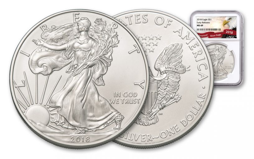 2018 1 Dollar 1-oz Silver Eagle NGC MS69 Early Releases Eagle Label