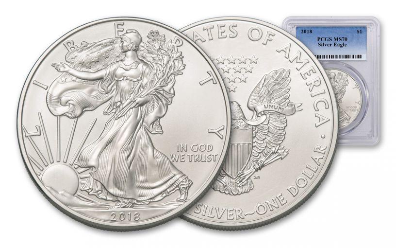 2018 1 Dollar 1-oz Silver Eagle PCGS MS70