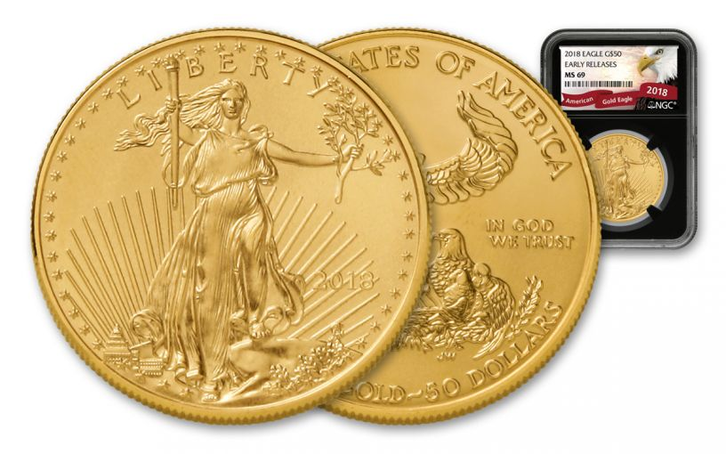 2018 50 Dollar 1-oz Gold Eagle NGC MS69 Early Releases Eagle Label - Black