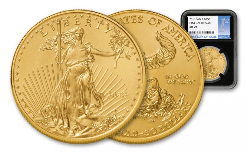 2018 50 Dollar 1-oz Gold Eagle NGC MS70 First Day Of Issue - Black