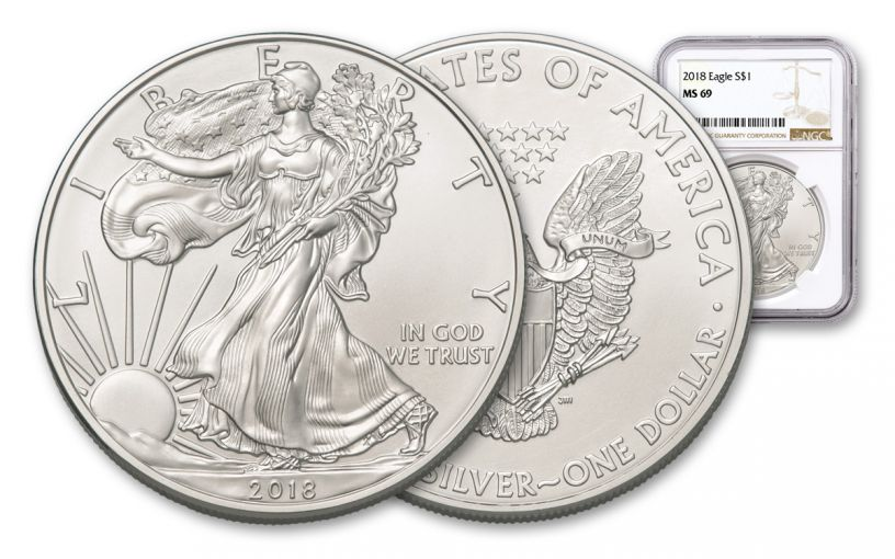 2018 1 Dollar 1-oz Silver Eagle NGC MS69 Brown Label