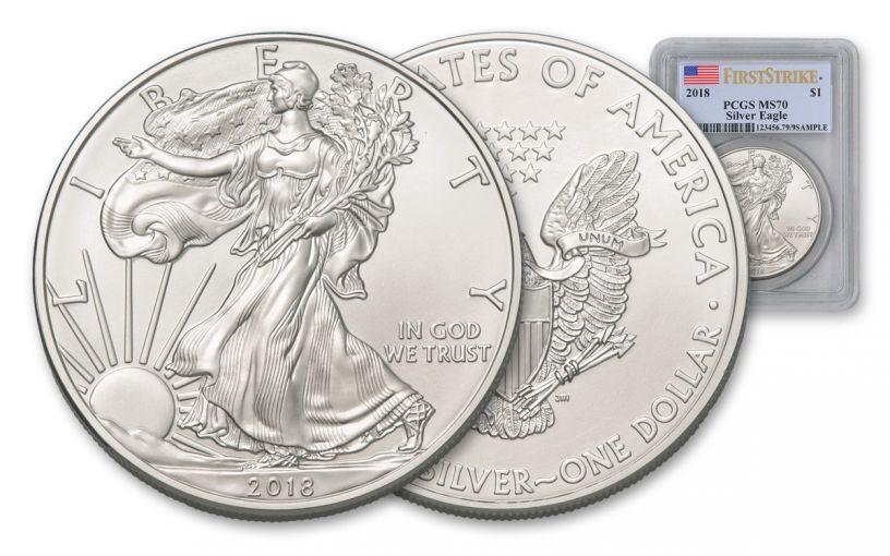 2018 1 Dollar 1-oz Silver Eagle PCGS MS70 First Strike Flag Label