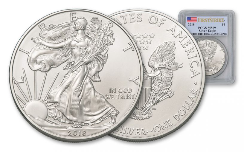 2018 1 Dollar 1-oz Silver Eagle PCGS MS69 First Strike Flag Label