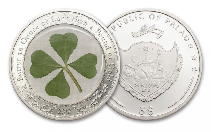 2018 Palau 5 Dollar 1-oz Silver Four Leaf Clover Proof