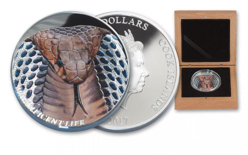 2017 Cook Islands 5 Dollar 1-oz Silver Cobra Magnificent Life Proof