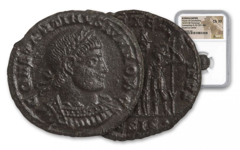 Ancient Roman Bronze Constantine II NGC CH XF