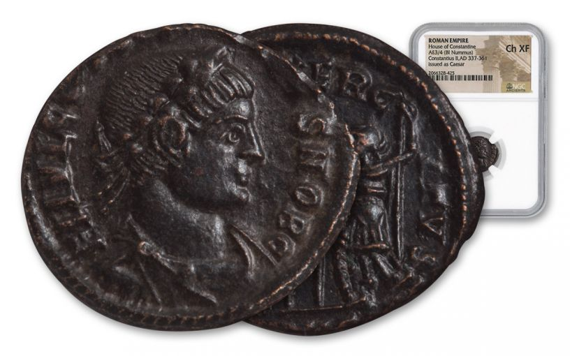 Ancient Roman Bronze Constantius II NGC CH XF