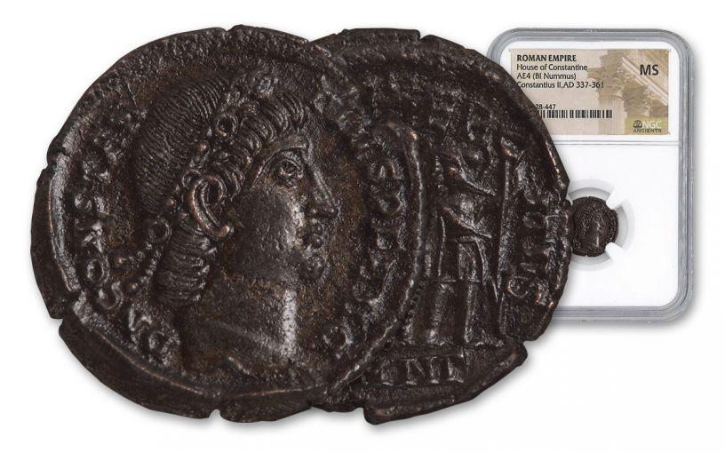 Ancient Roman Bronze Constantius II NGC MS