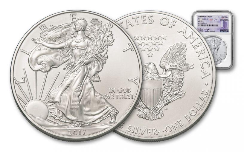 2017 1 Dollar 1-oz Silver Eagle NGC MS70 Denver ANA Mercanti Signed