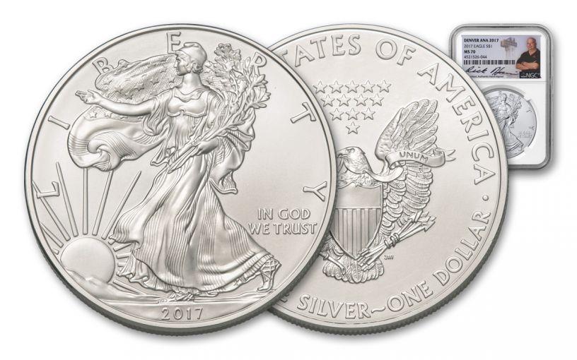 2017 1 Dollar 1-oz Silver Eagle NGC MS70 Denver ANA Rick Harrison Signed