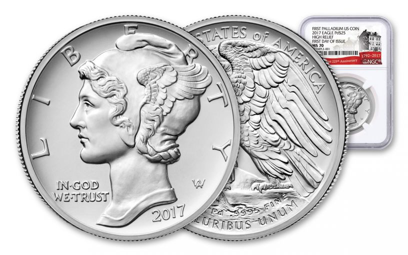 2017-P 25 Dollar 1-oz Palladium American Eagle High-Relief NGC MS70 First Day Of Issue 225th Anniversary