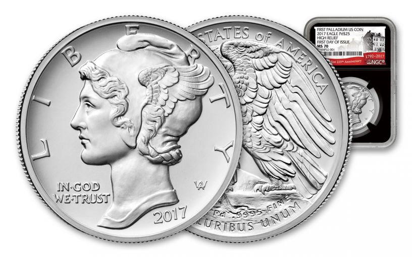 2017-P 25 Dollar 1-oz Palladium American Eagle High-Relief NGC MS70 First Day of Issue 225th Anniversary - Black