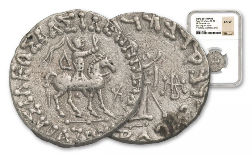 Ancient Azes Silver Tetradrachm NGC Choice - VF