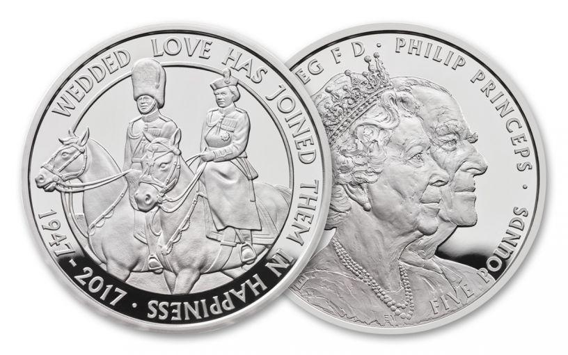 2017 Great Britain 5 Pound 1-oz Silver 70th Wedding Anniversary Proof Piedfort OGP