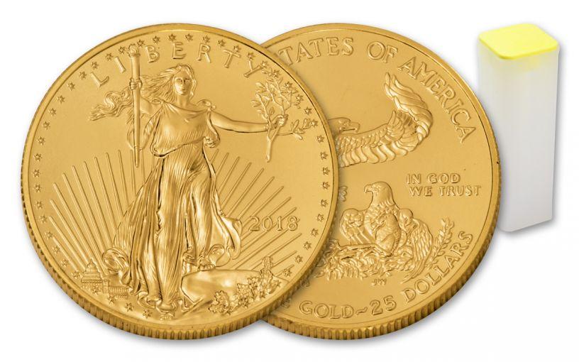 2018 25 Dollar 1/2-oz Gold Eagle BU 40-Coin Roll
