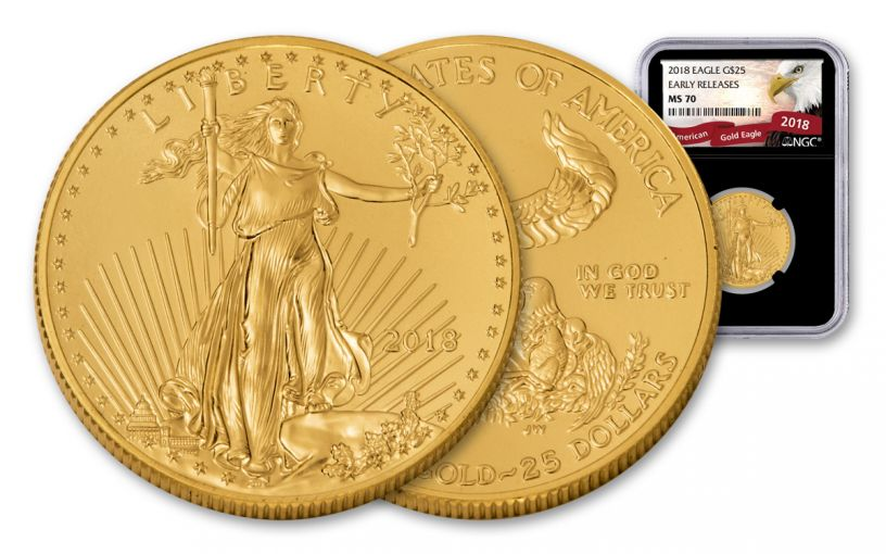 2018 25 Dollar 1/2-oz Gold Eagle NGC MS70 Early Releases Eagle Label - Black