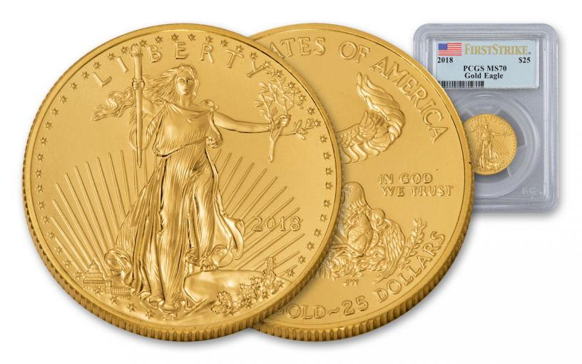 2018 25 Dollar 1/2-oz Gold Eagle PCGS MS70 First Strike Flag Label