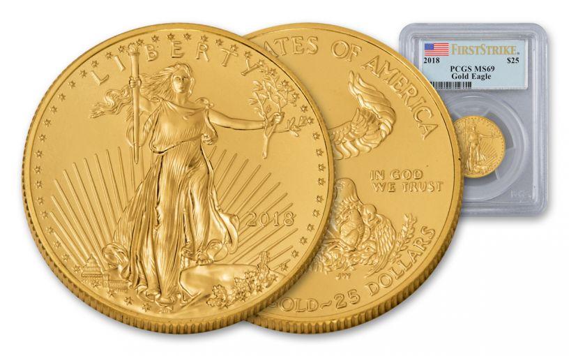 2018 25 Dollar 1/2-oz Gold Eagle PCGS MS69 First Strike Flag Label
