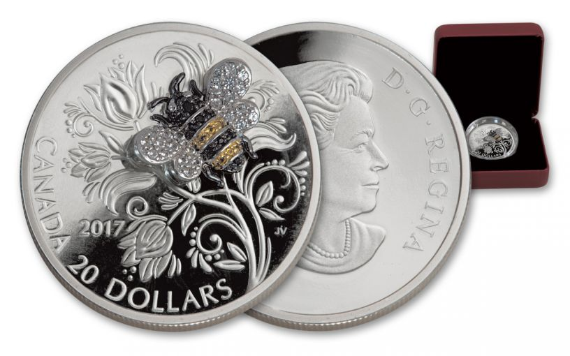2017 Canada 20 Dollar 1-oz Silver Bee Bejeweled Bugs Proof
