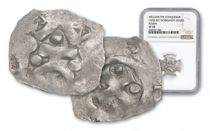 1035-1087 Normandy Silver Rouen Denier Of William NGC VF25