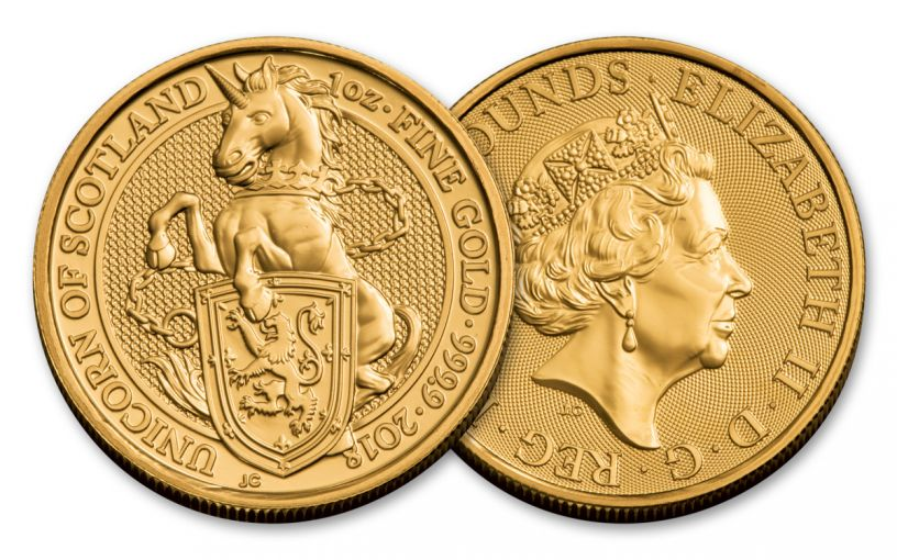 2018 Great Britain 1-oz 100 Pound Gold Queen's Beasts Unicorn Uncirculated