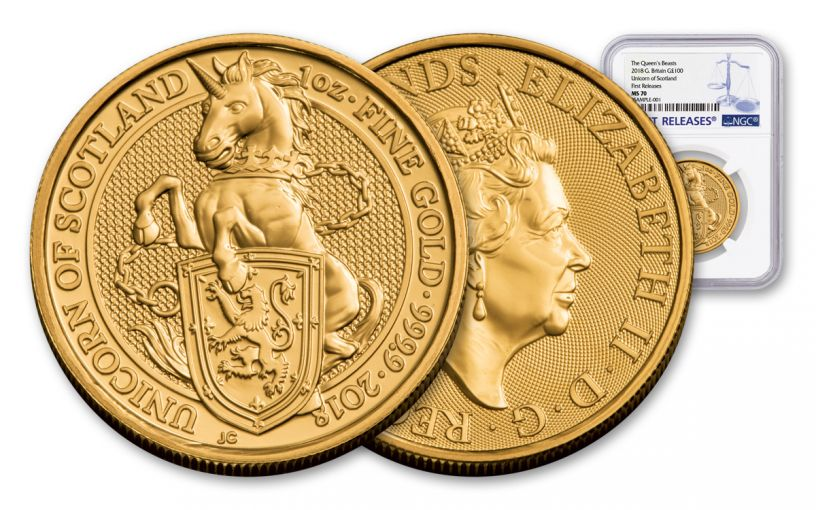 2018 Great Britain 1-oz 100 Pound Gold Queen's Beasts Unicorn MS70- First Releases