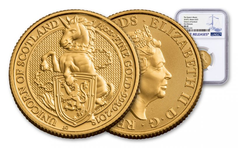 2018 Great Britain 1/4-oz 25 Pound Gold Queen's Beasts Unicorn MS69- First Releases