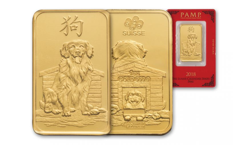 2018 PAMP 1-oz Gold Lunar Year Of The Dog Proof