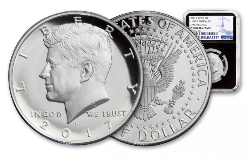 2017-S Silver Kennedy Half Dollar NGC PF70UCAM Early Releases Limited Edition Set - Black