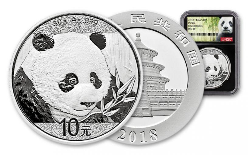 2018 China 30 Gram Silver Panda NGC MS69 First Release - Black