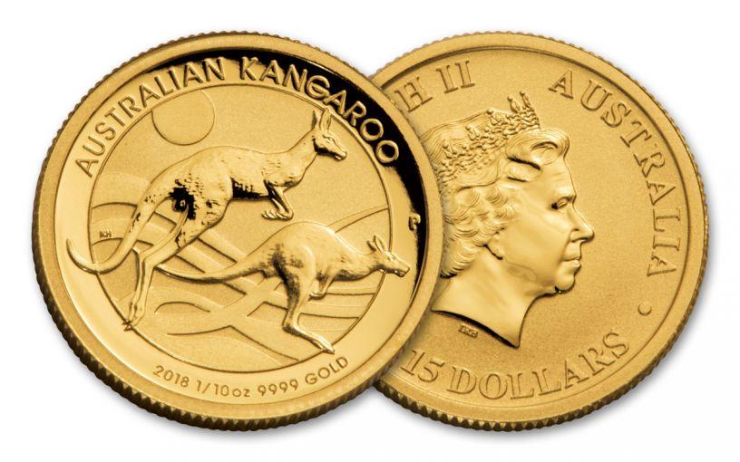 2018 Australia 15 Dollar 1/10-oz Gold Kangaroo Brilliant Uncirculated