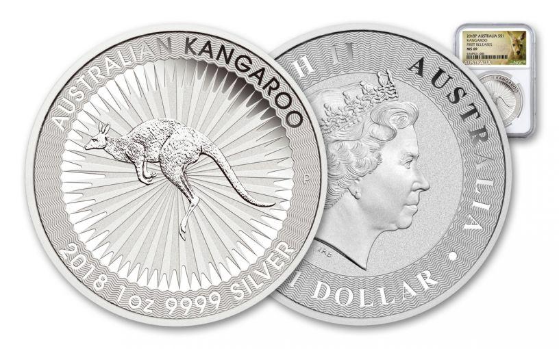 2018 Australia 1 Dollar 1-oz Silver Kangaroo Bullion NGC MS69 First Releases - White