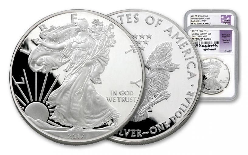 2017-S 1 Dollar 1-oz Silver Eagle NGC PF70UCAM ER Limited Edition Set Mercanti & Jones Signed 2pc Set