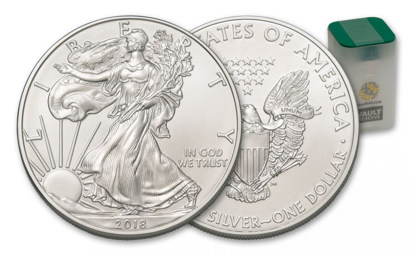 2018 1 Dollar 1-oz Silver Eagle Brilliant Uncirculated 20-Coin Roll Vault Reserve