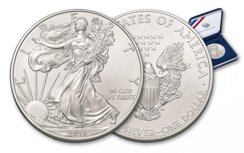2018 1 Dollar 1-oz Silver Eagle BU in U.S Mint Presentation Box