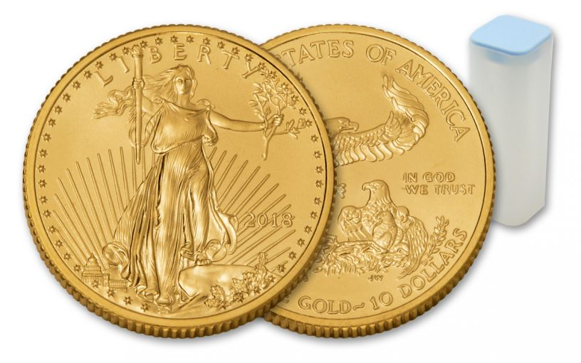 2018 10 Dollar 1/4-oz Gold Eagle BU 40-Coin Roll