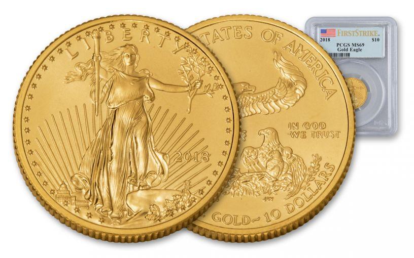 2018 10 Dollar 1/4-oz Gold Eagle PCGS MS69 First Strike Flag Label