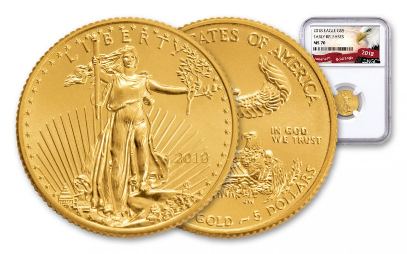 2018 5 Dollar 1/10-oz Gold Eagle NGC MS70 Early Releases Eagle Label