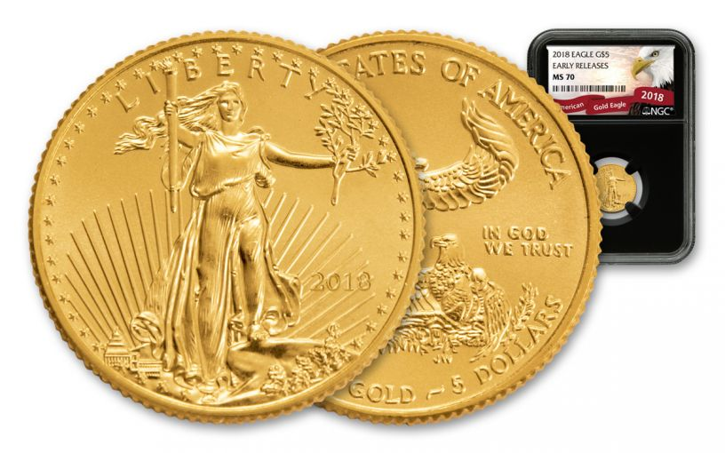 2018 5 Dollar 1/10-oz Gold Eagle NGC MS70 Early Releases Eagle Label - Black