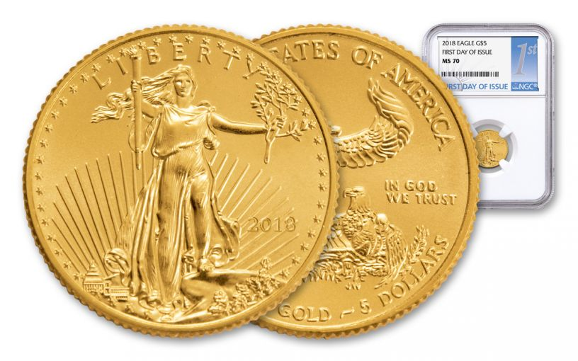 2018 5 Dollar 1/10-oz Gold Eagle NGC MS70 First Day Of Issue Silver Label