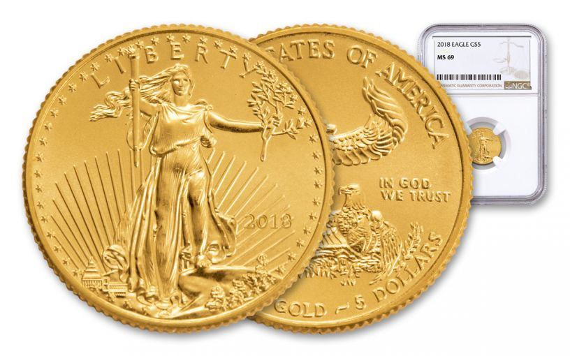 2018 5 Dollar 1/10-oz Gold Eagle NGC MS69 Brown Label