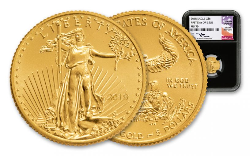 2018 5 Dollar 1/10-oz Gold Eagle NGC MS70 First Day Of Issue Mercanti Signed - Black